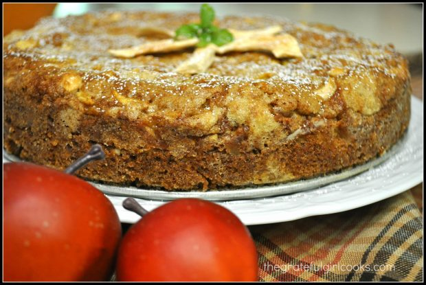 A side view of Mom's apple cake.