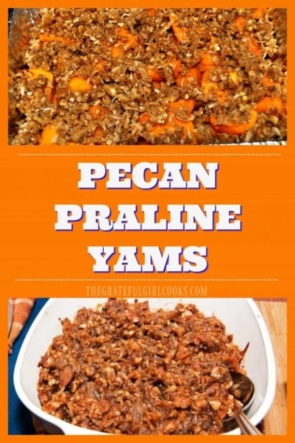 Pecan Praline Yams are a yummy Thanksgiving tradition! Canned yams, baked with brown sugar, coconut, butter & pecans are an easy side dish for a family feast!