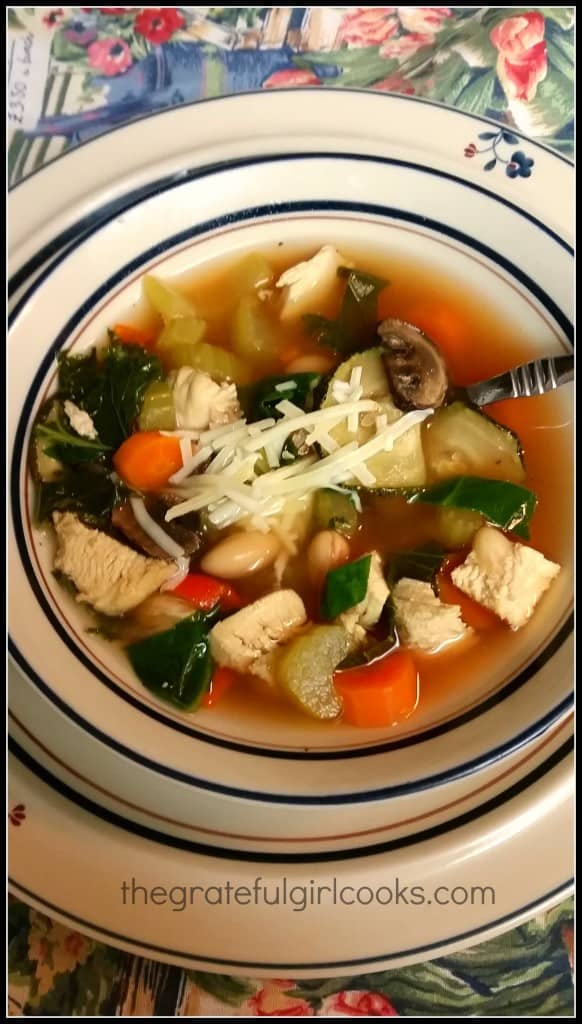 A bowl of the Tuscan chicken vegetable soup, ready to eat!