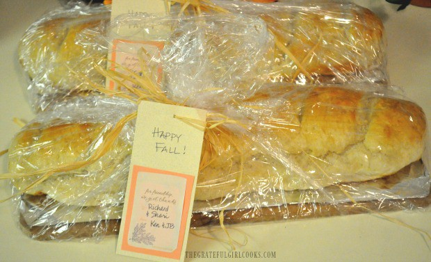 Loaves of miracle bread, wrapped to give to friends!