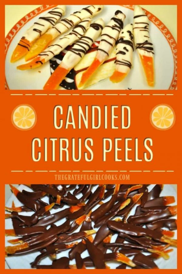 Candied citrus peels (orange and lemon), dipped in chocolate are a unique, sweet treat to make and give to friends and family during the holidays!