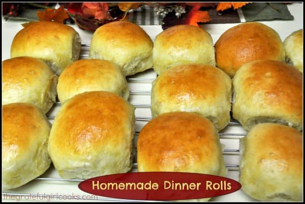Homemade dinner rolls are soft, golden brown and buttery, and are a perfect accompaniment to any meal.