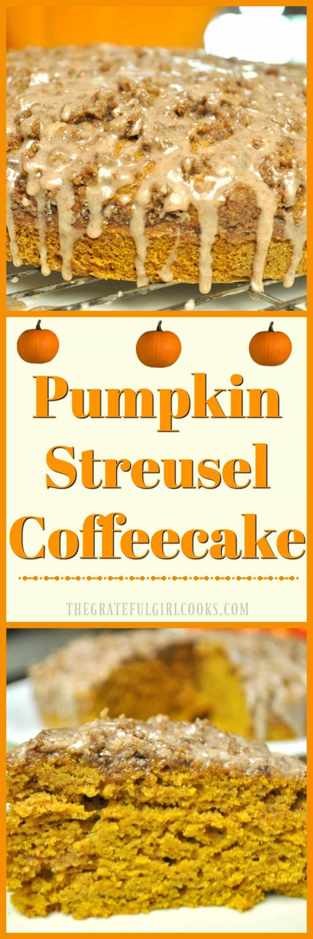 Pumpkin Streusel Coffeecake / The Grateful Girl Cooks! This EASY recipe makes TWO coffeecakes... perfect for company (or freeze one for later!)