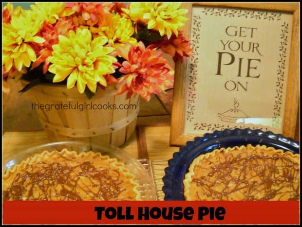Toll House Pie is an incredibly EASY and delicious pie to make, with chocolate chips, pecans, brown sugar and a drizzled chocolate top. Mix and bake!