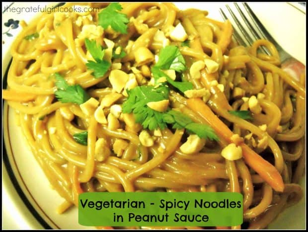Vegetarian or not, you'll enjoy these spicy noodles in peanut sauce! Pasta with water chestnuts, peanuts, cilantro and carrots in a creamy Thai sauce!