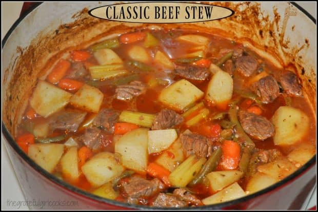 "Classic Beef Stew / The Grateful Girl Cooks! Classic Beef Stew, a ""comfort food"" soup filled with meat, potatoes, carrots, beans, and tomatoes, is a hearty and filling meal on a cold day!"