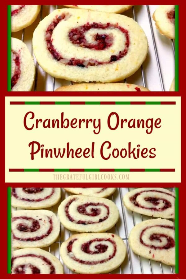 Enjoy these festive looking and delicious cranberry-orange pinwheel cookies, filled with swirled cranberry, orange and pecans.