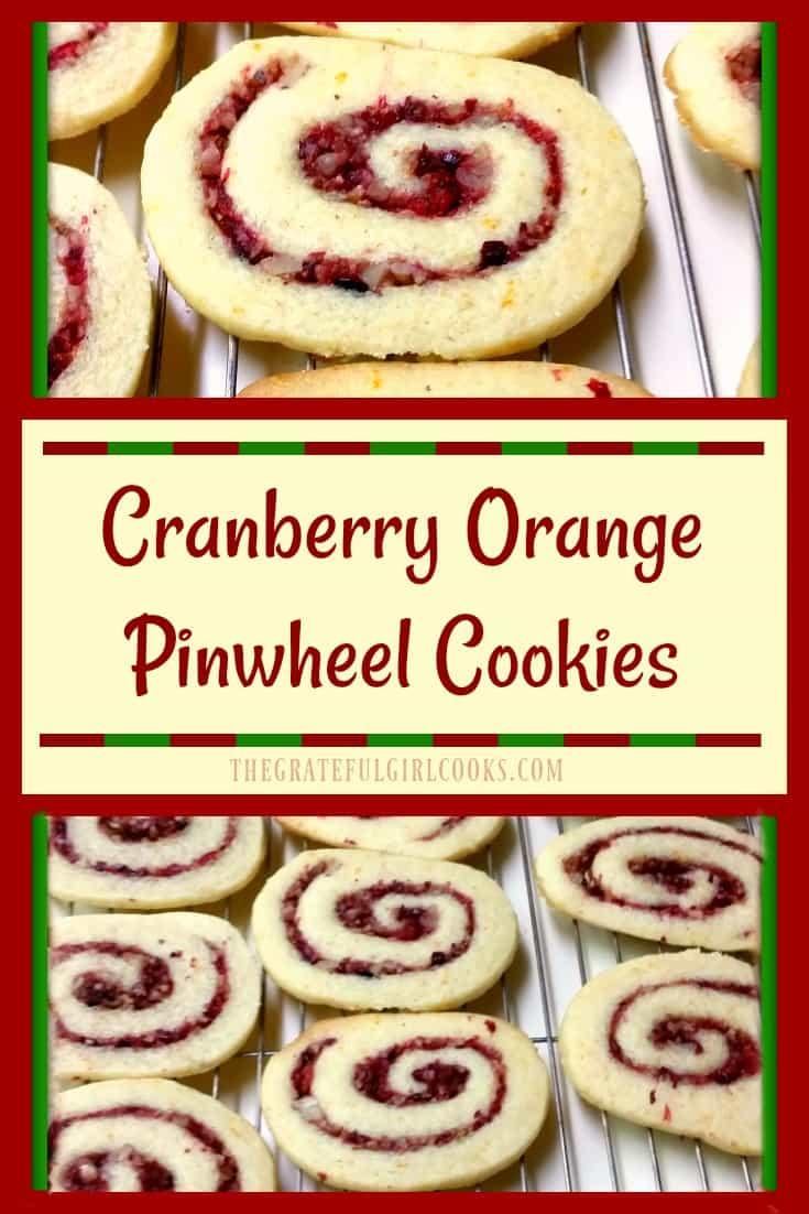 Enjoy these festive light cranberry orange pinwheel cookies with swirled cranberry/pecan filling.