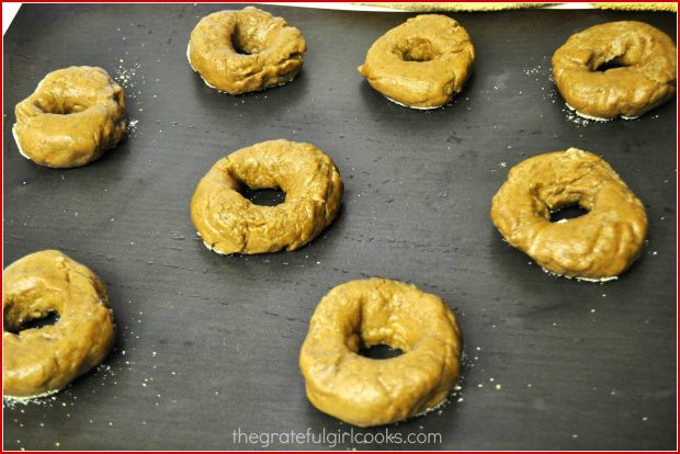 Gingerbread Bagels have been boiled, and will now be baked in oven until done.