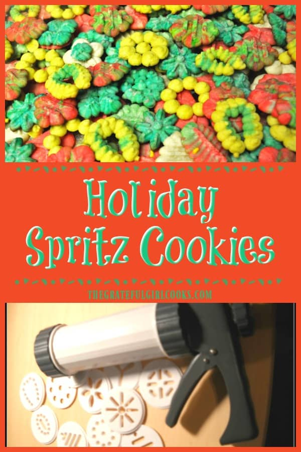 It's easy to make a LOT of small, buttery holiday spritz cookies for eating or gift giving, using an inexpensive cookie press to make festive shapes!