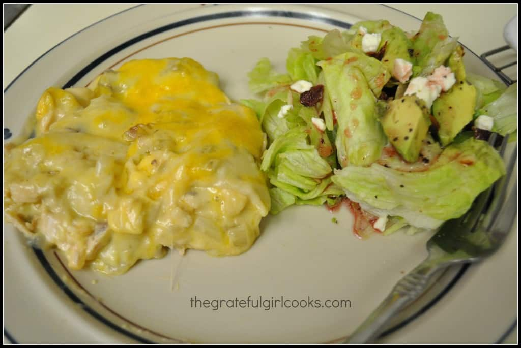 Layered Chicken Enchilada Casserole / The Grateful Girl Cooks!