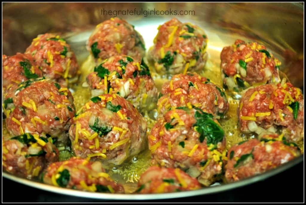 BBQ Glazed Cheese & Spinach Meatballs / The Grateful Girl Cooks!