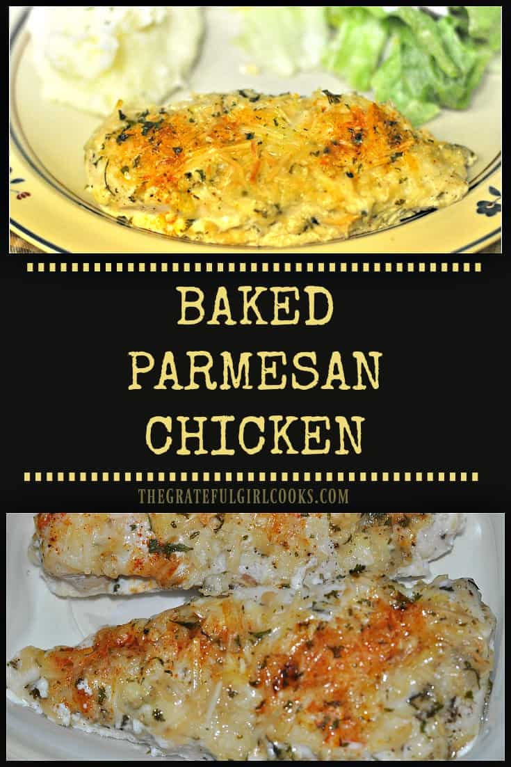 Baked Parmesan Chicken / The Grateful Girl Cooks! You'll enjoy these easy to make, seasoned, baked chicken breasts with a creamy Parmesan cheese coating for dinner! Delicious, and prep time is only 5 minutes!