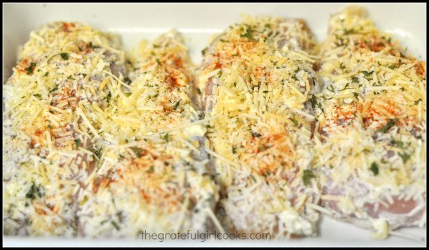 Chicken, covered with Parmesan cheese and spices