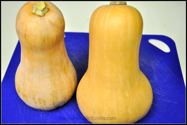 Butternut squash before baking them, to make soup.