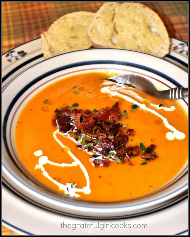 Butternut Squash Soup with Bacon is served, with bread on the side!