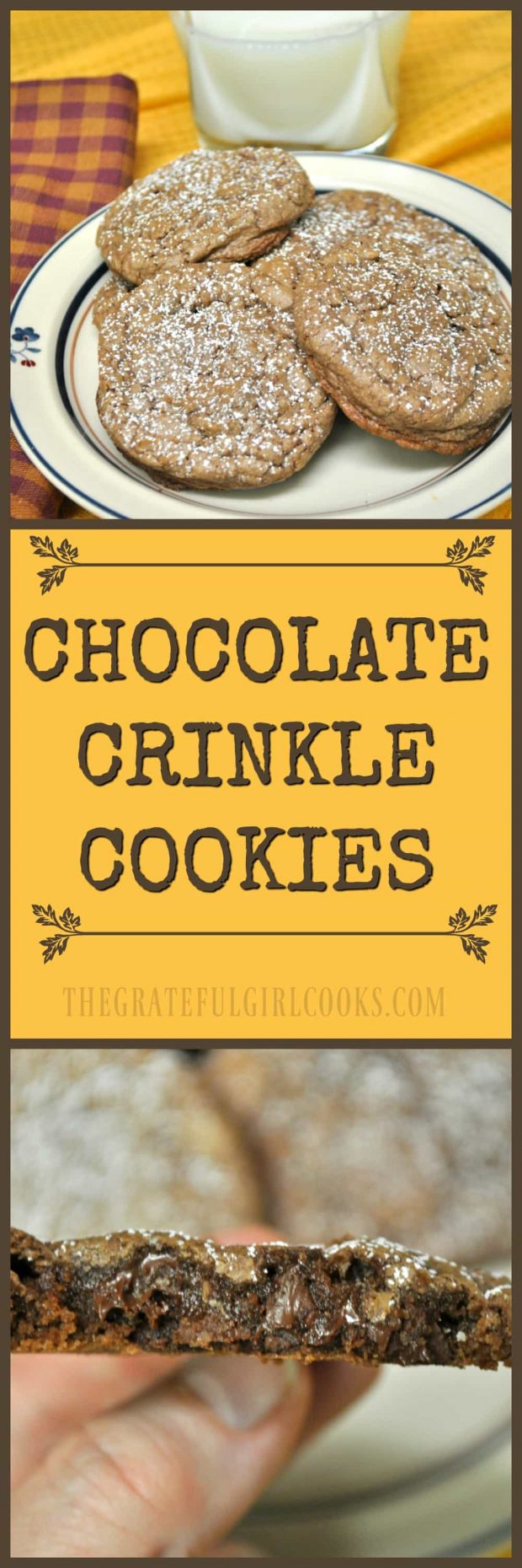 """Chocolate Crinkle Cookies / The Grateful Girl Cooks! How can you go wrong with easy to make chocolate, chocolate chip cookies that get all cute and """"crinkly"""" when you bake 'em?"""
