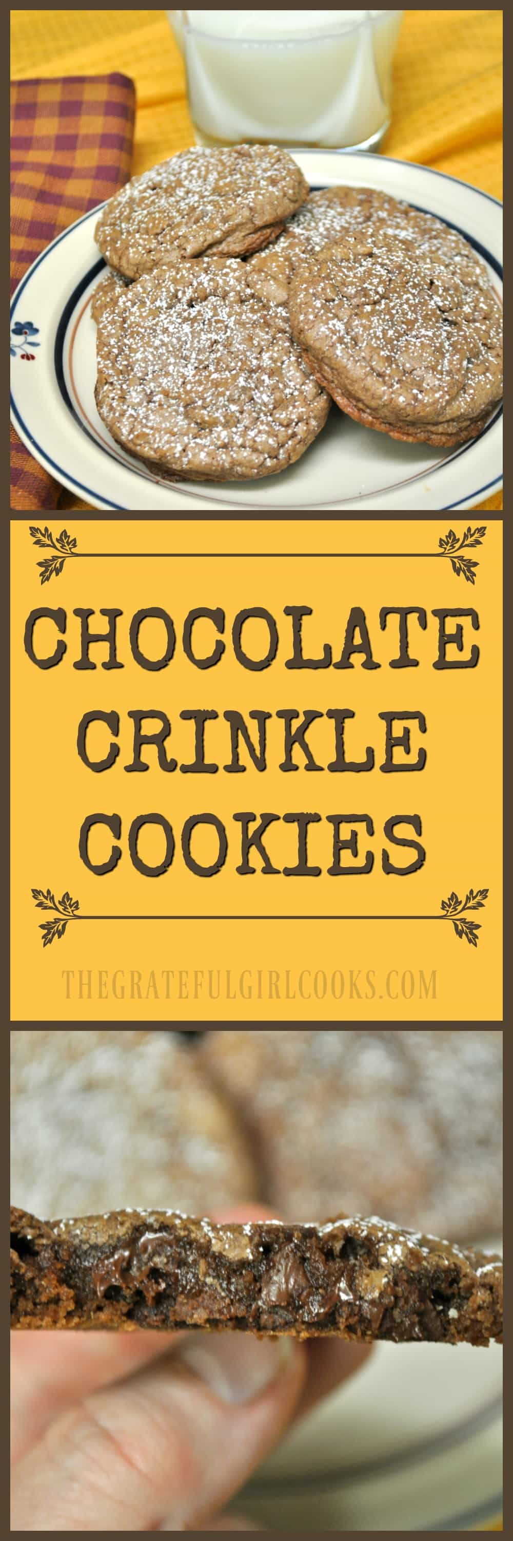 "Chocolate Crinkle Cookies / The Grateful Girl Cooks! How can you go wrong with easy to make chocolate, chocolate chip cookies that get all cute and ""crinkly"" when you bake 'em?"
