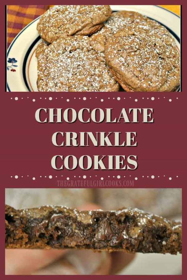 "Chocolate Crinkle Cookies- How can you go wrong with easy to make chocolate, chocolate chip cookies that get all cute and ""crinkly"" when you bake 'em?"