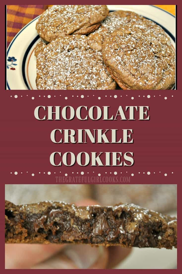 Chocolate Crinkle Cookies-How can you go wrong with easy to make chocolate, chocolate chip cookies that get all cute and