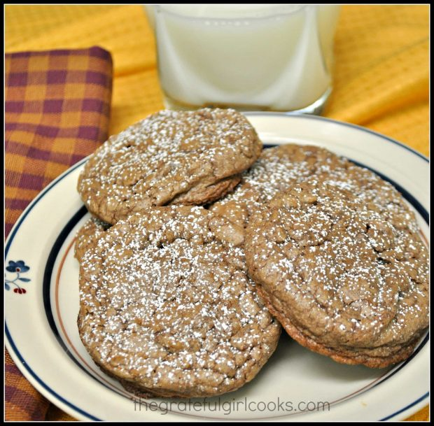 Chocolate Crinkle Cookies on a plate, ready to eat, with a cup of cold milk on the side.