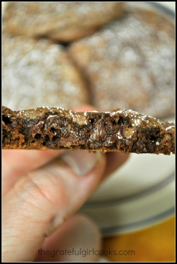 The inside of the Chocolate Crinkle Cookies is chewy and fudgy!
