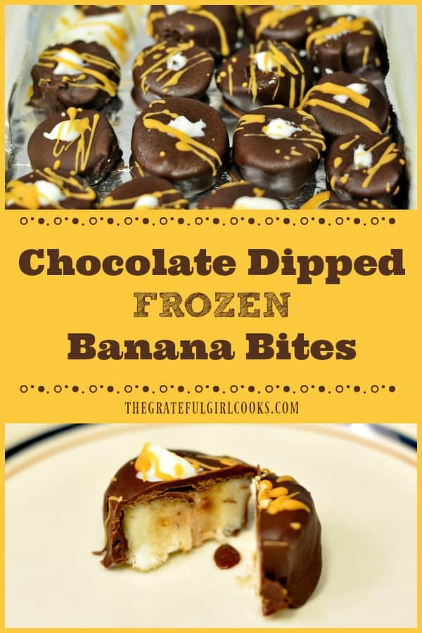 Chocolate dipped frozen banana bites are sure to be a big hit with family or friends! A couple bites will help satisfy any sweet tooth!