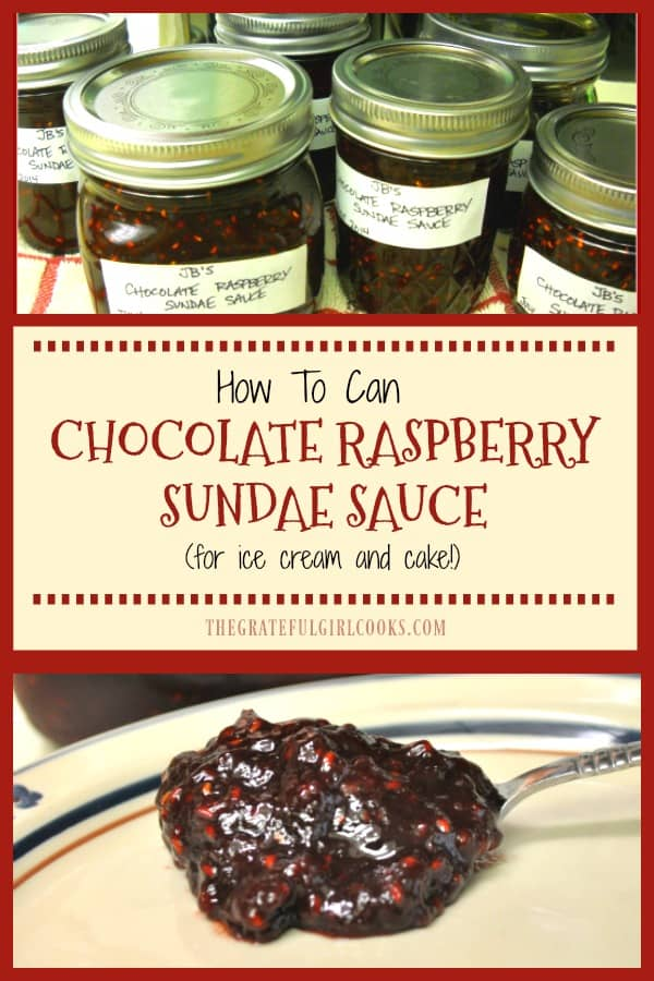 Chocolate Raspberry Sundae Sauce is a perfect topping for ice cream or cake! Learn how to can this thick chocolate flavored sauce for long term storage!