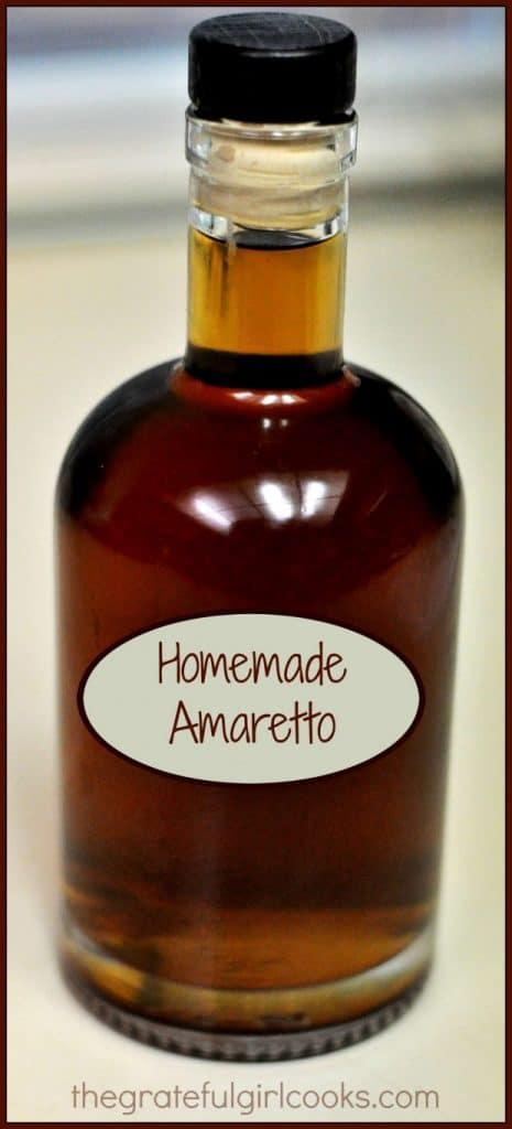 Make homemade amaretto, a sweet Italian almond flavored liqueur inexpensively at home! It's easy, and can be used for cocktails or in other recipes.