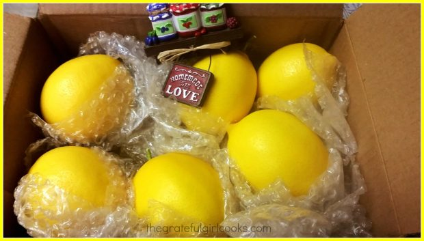 Lemons in box for baking into some delicious lemon bars!