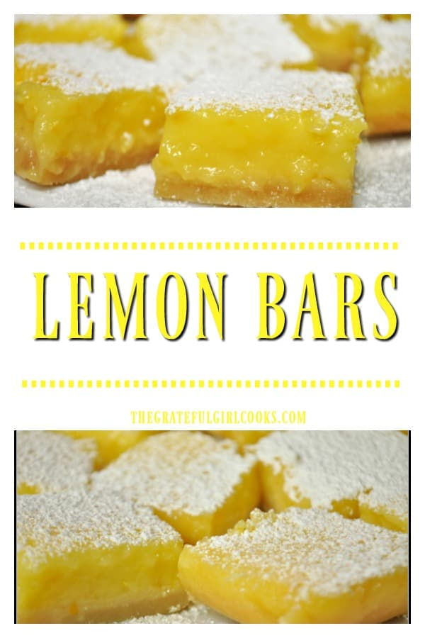 You will LOVE these classic Lemon Bars! Sweet and tangy lemon filling on a buttery base, they are a perfect treat to serve for dessert, or any special occasion!