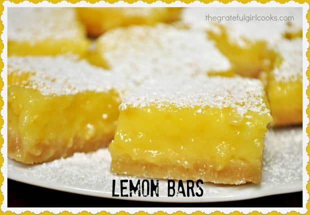 You will LOVE these classic Lemon Bars! Sweet and tangy lemon filling on a buttery crust, they are a perfect treat to serve for dessert, or any special occasion!