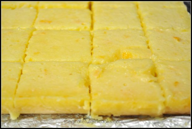 Baked lemon bars, cut into slices to serve