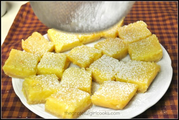 Powdered sugar sifted onto lemon bars