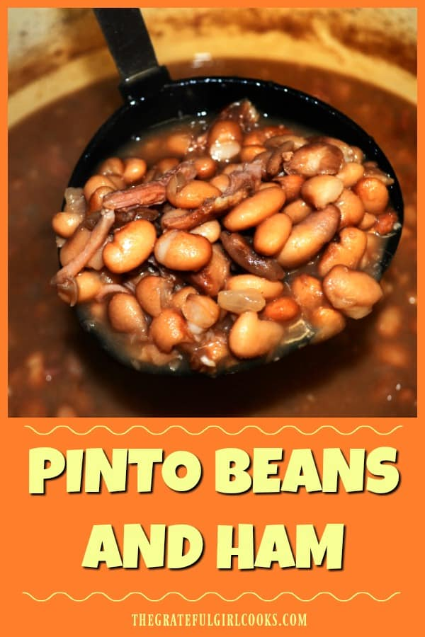 Pinto Beans and Ham is an easy, economical way to make a big pot full of tasty, filling, pinto beans and shredded leftover ham, flavored with onion and garlic!