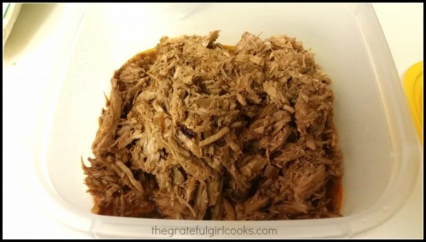 Shredded pork ready for filling tamales