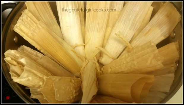 Pork tamales are steamed for one hour