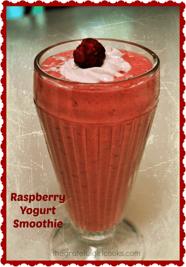 You're gonna love this easy to make raspberry yogurt smoothie, with raspberries, banana, and Greek yogurt, sweetened with honey. Cold and delicious!