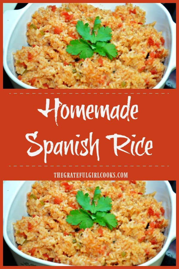 It's easy to make delicious Spanish Rice from scratch, with bell peppers, diced tomatoes, onion, and spices. Perfect side dish for most Mexican foods.