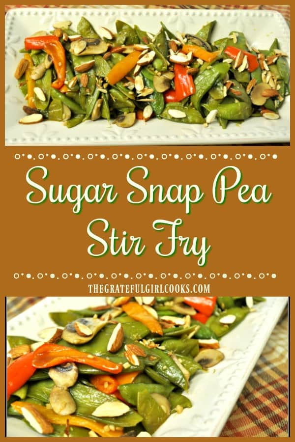 This Asian-inspired sugar snap pea stir fry, with mushrooms and colorful bell peppers cooked in teriyaki sauce, is a simple and delicious veggie side dish!