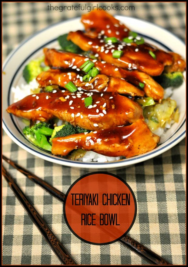 A teriyaki chicken rice bowl is a yummy one dish meal, with chicken, broccoli, cabbage and green onions, in a teriyaki glaze, served on a bed of rice.
