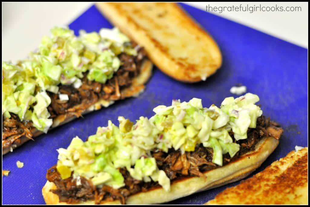 BBQ Shredded Pork Hoagie with Spicy Slaw / The Grateful Girl Cooks!