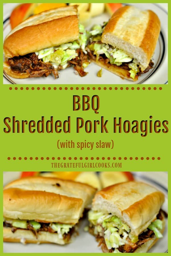 Classic BBQ Shredded Pork Hoagies, topped with a slightly spicy and crunchy slaw. This is a great way to use leftover pork to make a new lunch or dinner!