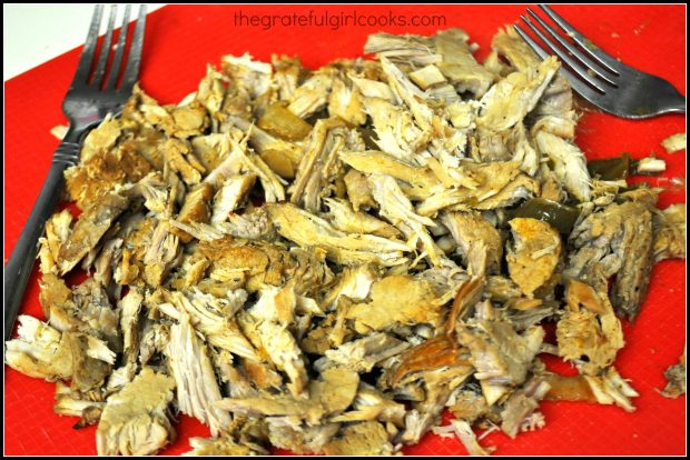 Shredded pieces of pork roast