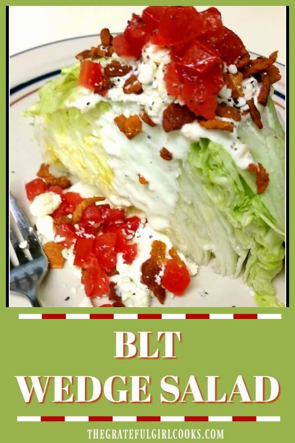 Classic BLT wedge salad with bacon, iceberg lettuce, crumbled blue cheese, and chopped tomatoes, topped with a thick, creamy, homemade blue cheese dressing.