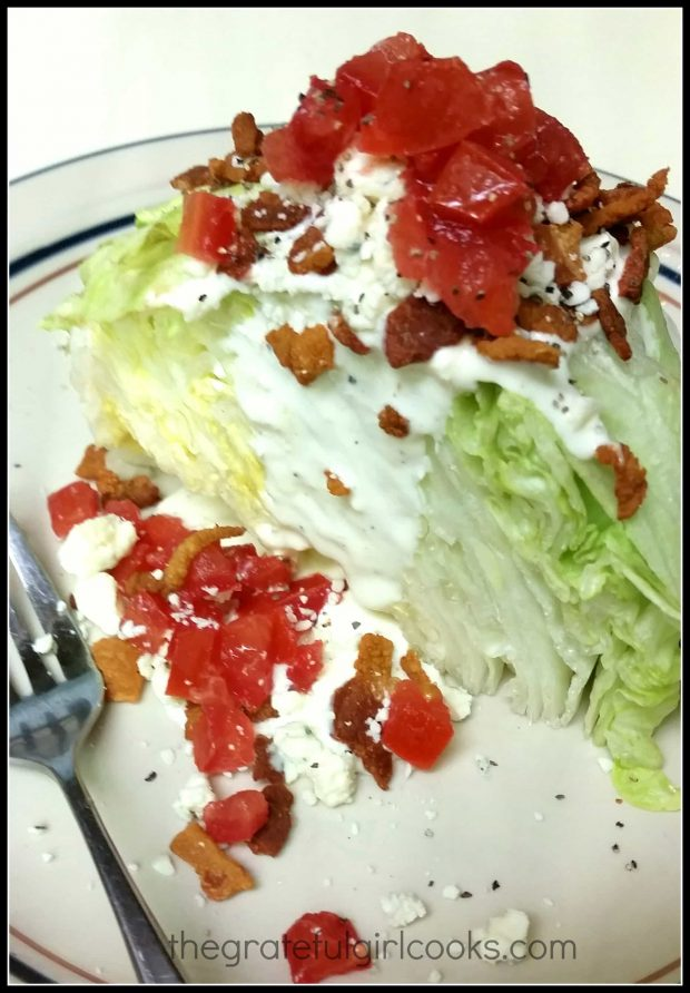 BLT Wedge Salad on plate with fork.