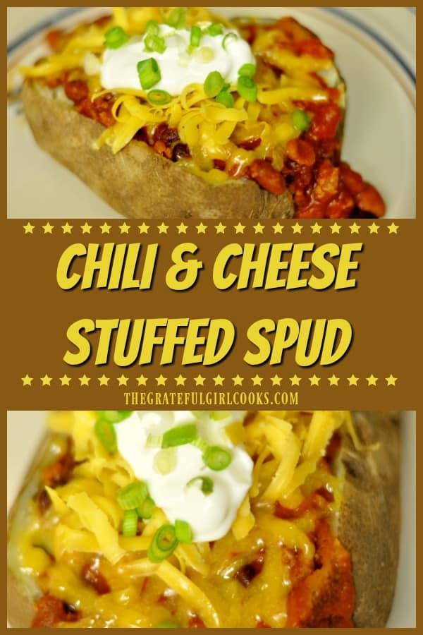 Need a quick, filling lunch or dinner that is REALLY easy? Why not make a chili cheese stuffed spud, with sour cream, cheddar cheese and green onions!