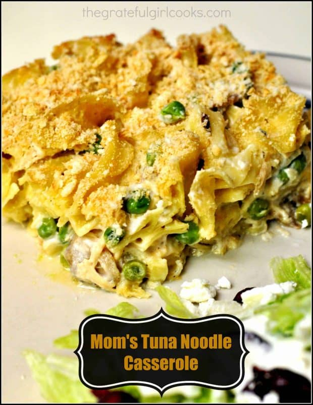 "Nothing says ""old school comfort food"" like Mom's Tuna Noodle Casserole! This classic dish has been around for years, is delicious, and easy on the budget!"