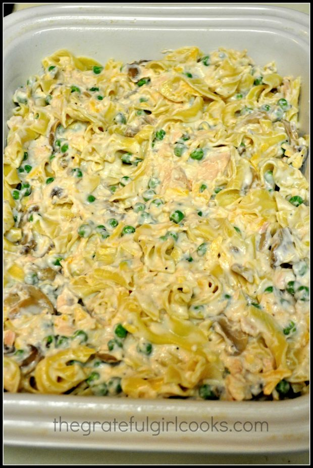 Tuna noodle casserole placed in baking dish, before going into the oven.