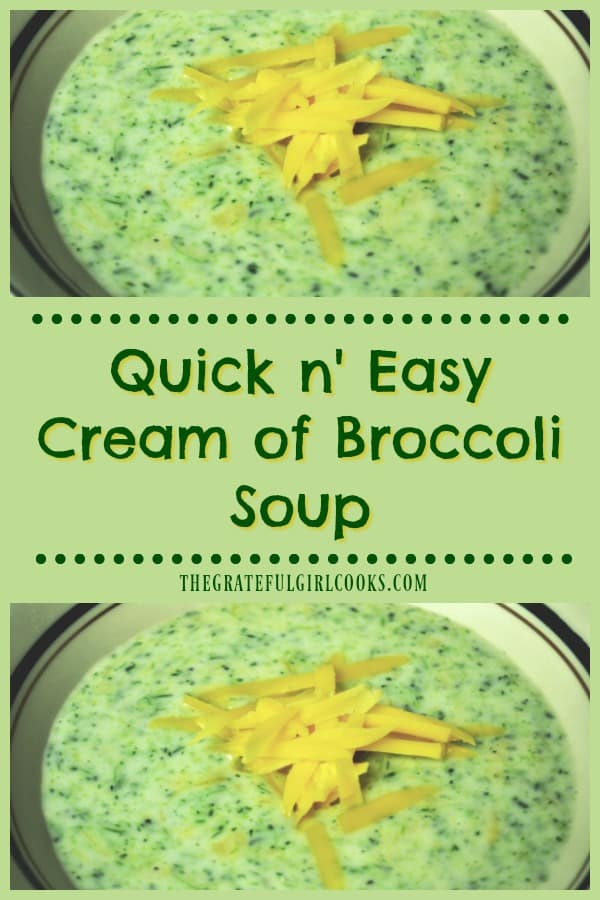 Quick n' Easy Cream of Broccoli Soup / The Grateful Girl Cooks!